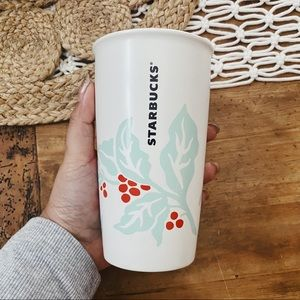Starbucks | Holly Leaf Print Ceramic Tumbler